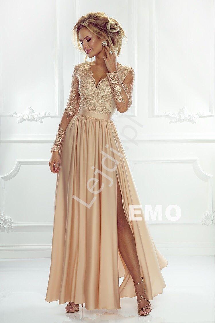 Sukienka Na Wesele Z Dlugim Rekawem Zlota Wieczorowa Luna Womens Dresses Dress Outfits Dresses