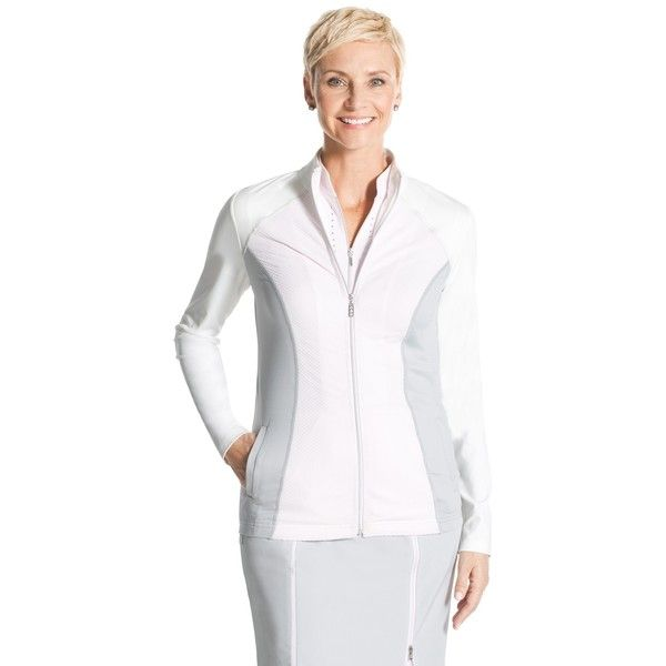 Chico's Zenergy Golf Pieced Jacket (145 CAD) ❤ liked on Polyvore featuring activewear, activewear jackets, soft lavender and chico's
