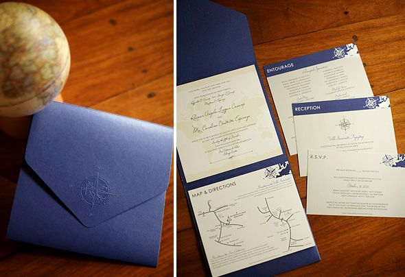 Pocket-fold invites embossed with a compass monogram and invitation cards designed with maps.