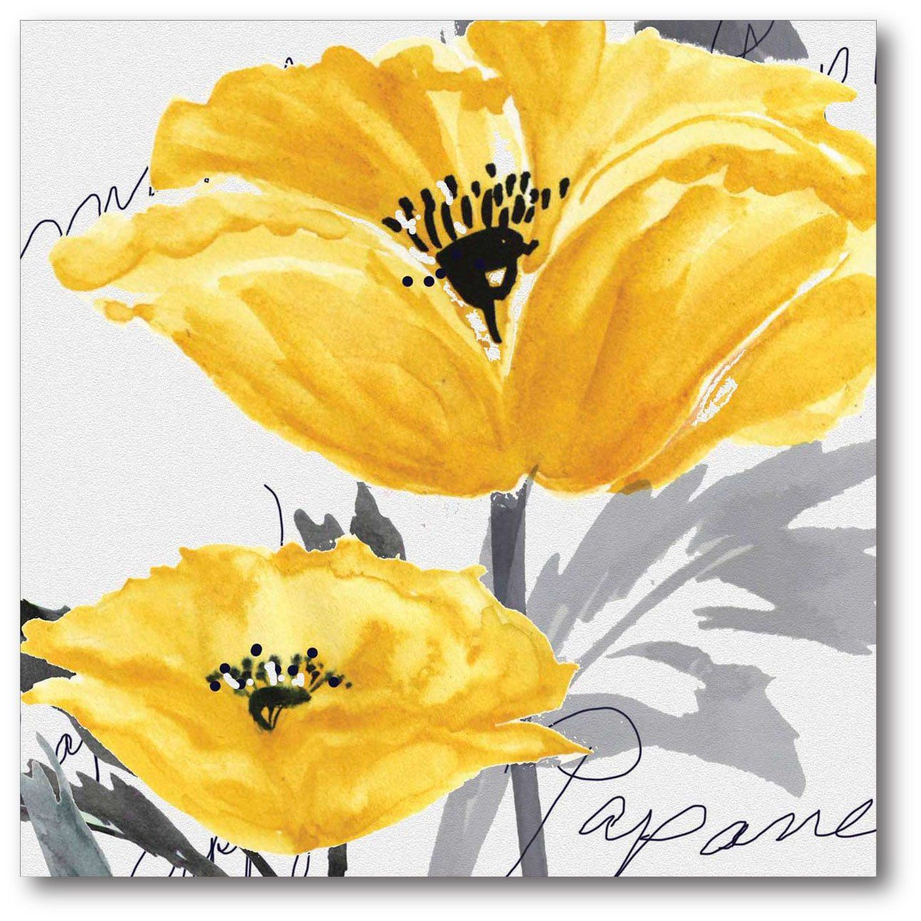 Poppy I Framed Watercolor Painting Print on Canvas   Painting prints ...