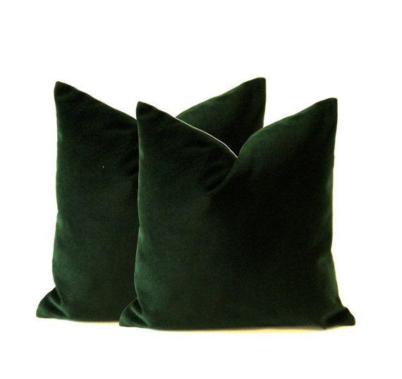 hunter green cotton velvet pillow cover
