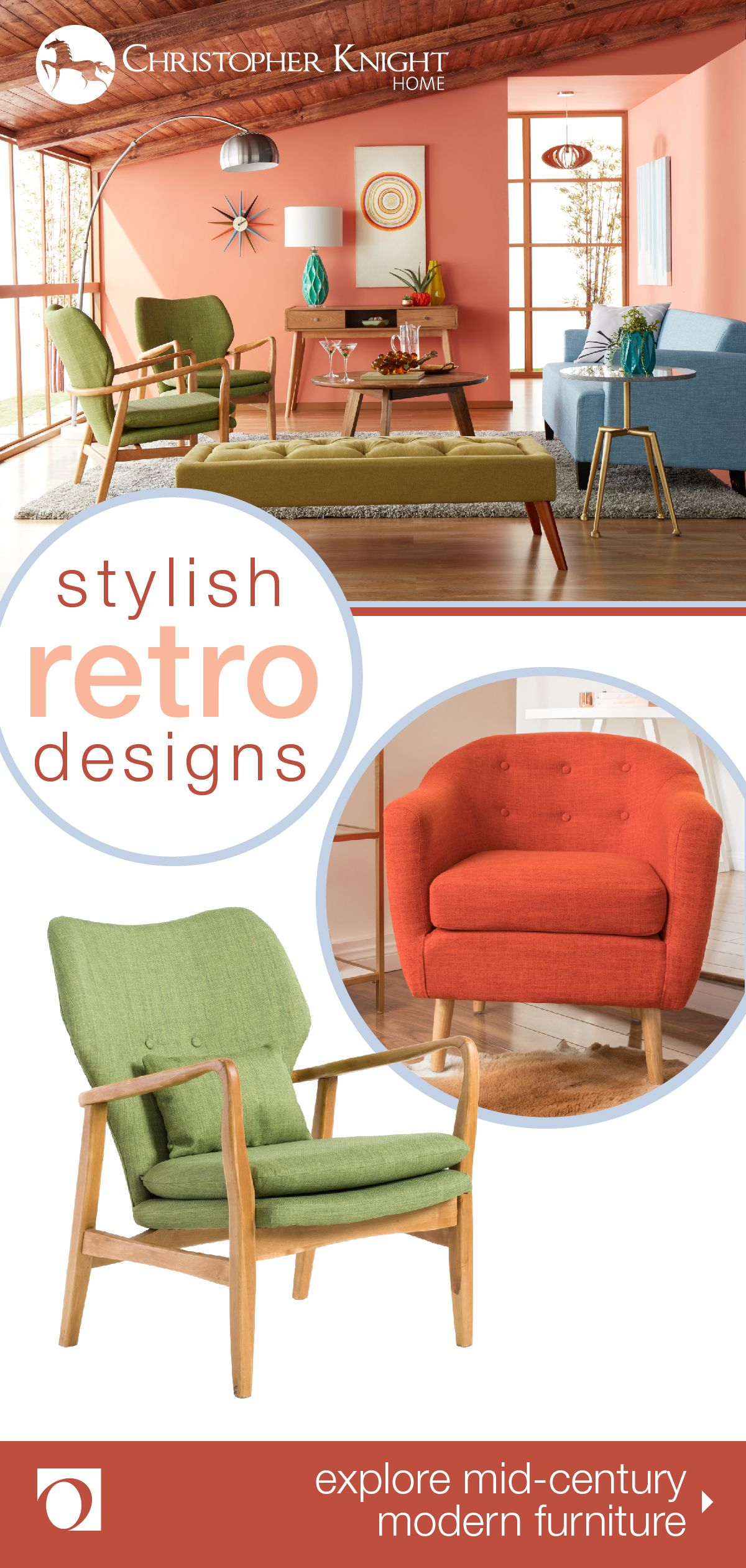 Enjoy the vintage inspired look of mid century modern furniture in your home with