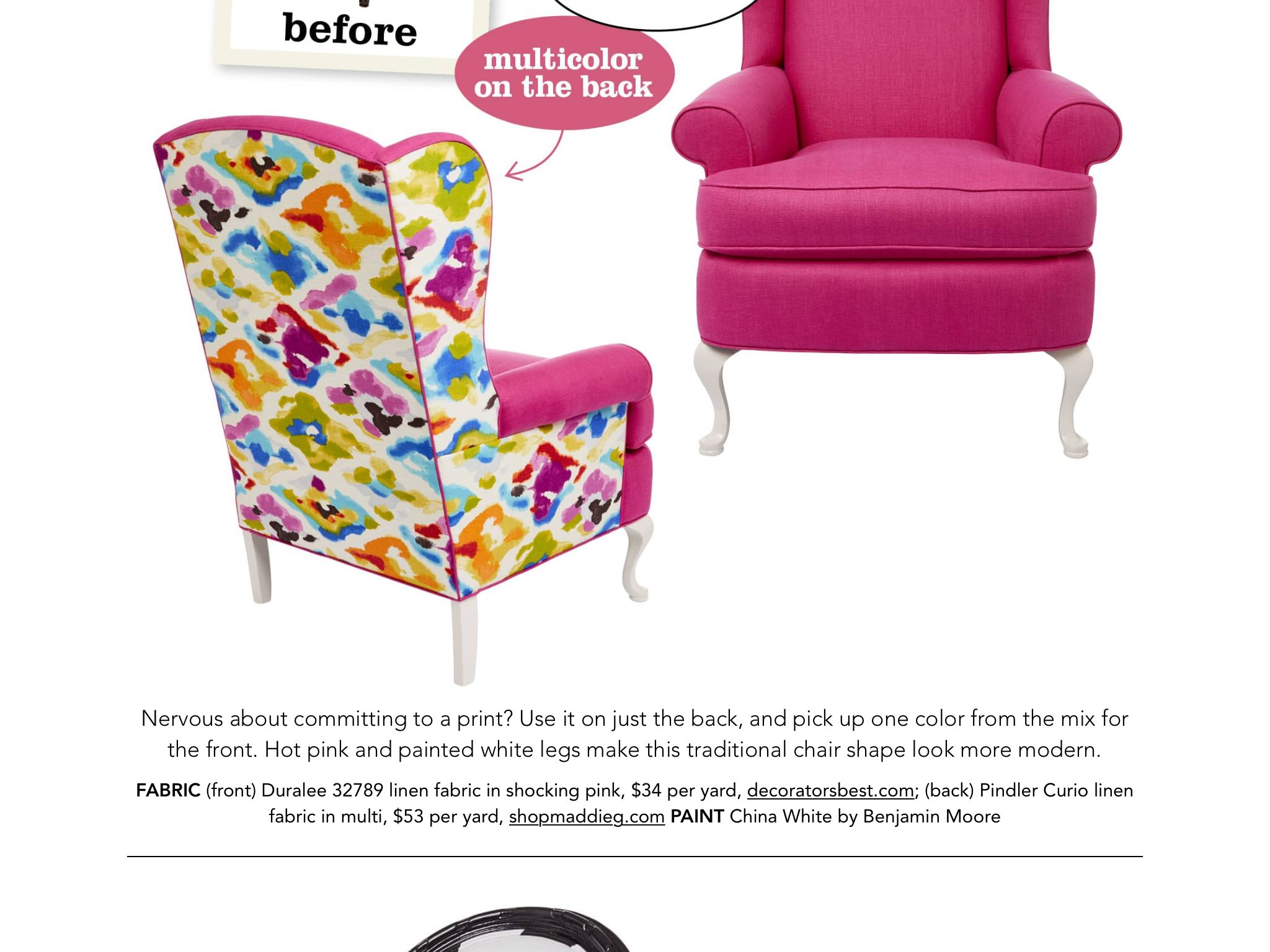 Chair Redos Front And Back From Hgtv Magazine July August 2017  # Muebles Jenny Montano