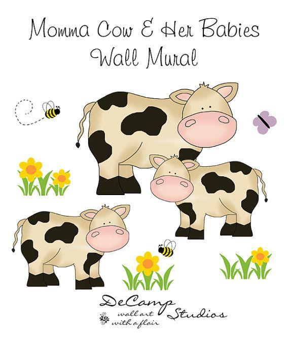 BARNYARD COW MURAL Wall Decals Baby Farm Animals Nursery Kids Room - Barnyard nursery wall decals