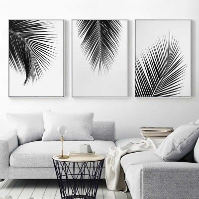 Black White Plant Coconut Leaves Canvas Poster Art Print Wall Painting Decor images
