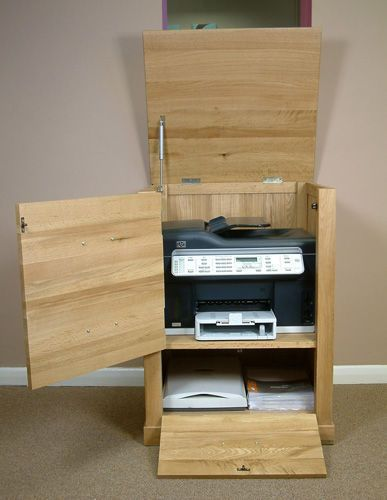 Fusion Solid Oak Wooden Office Furniture Printer Cupboard Storage Cabinet