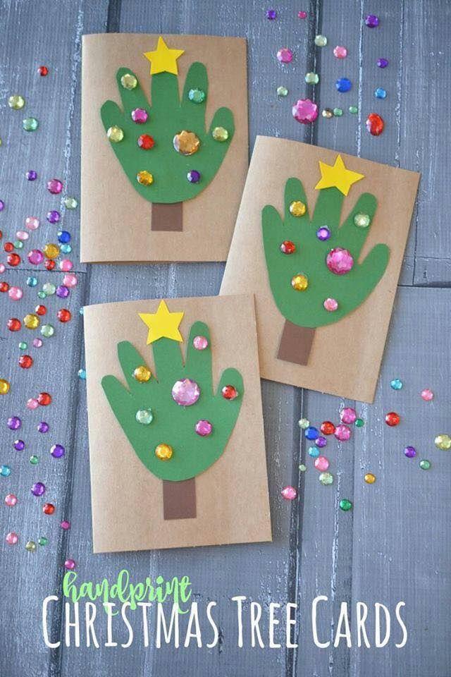 Hand Print Christmas Tree Cards   Cartes de noël pour enfants