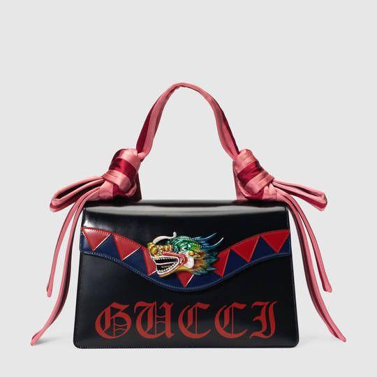Sac porté épaule Naga en cuir avec dragon - Gucci Portés Épaule Femme 466405DT9JN8080