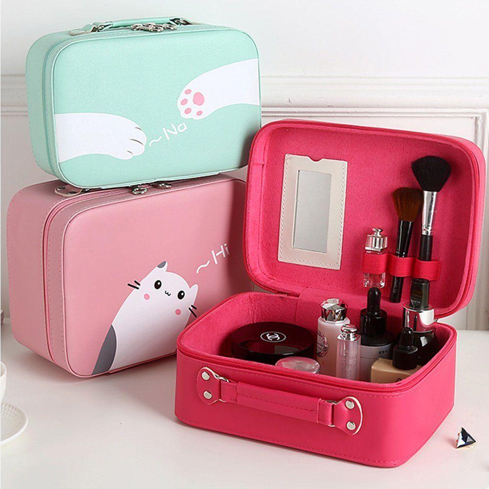 Cosmetic Case Beauty Box Cute Cats Print Pu Leather Makeup Case For Women Large Capacity Pink Mliizykki Affiliat Makeup Storage Bag Cosmetic Bag Makeup Case