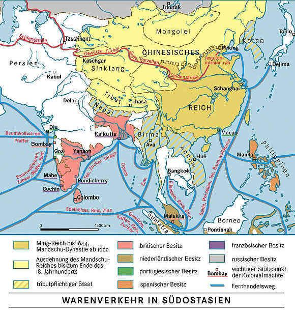The trade routes between Asia and Europe after the ...