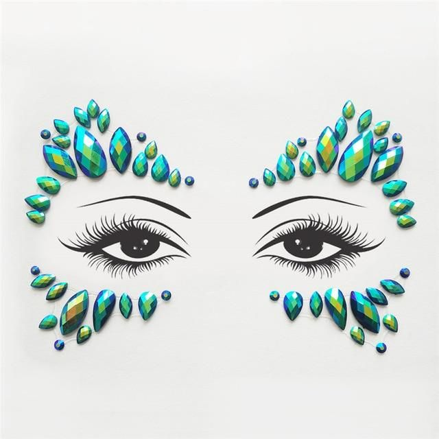 Strass Juwelen selbstklebende Kristall Augenbrauen Make Up Gesicht Aufkleber – 20 / Multi
