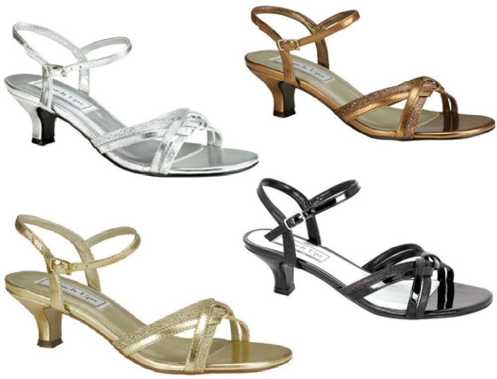 New Melanie Glitter Sandals Kitten Heels Black Silver Gold Bronze