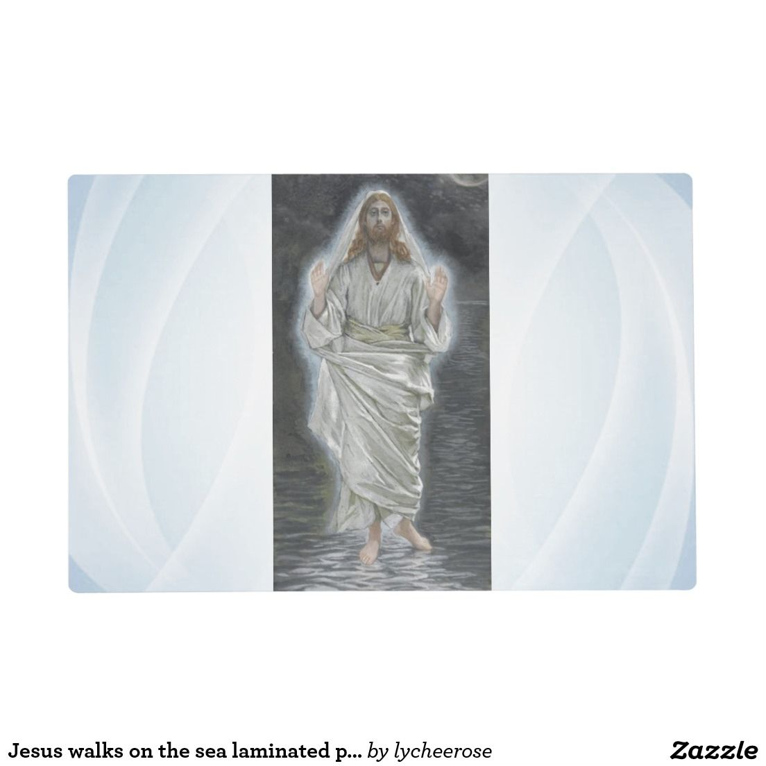 Jesus walks on the sea laminated placemat