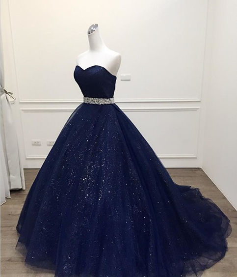 d5f4809088 Stunning Navy Blue Ball Gown Prom Dress Bling Bling Quinceanera ...