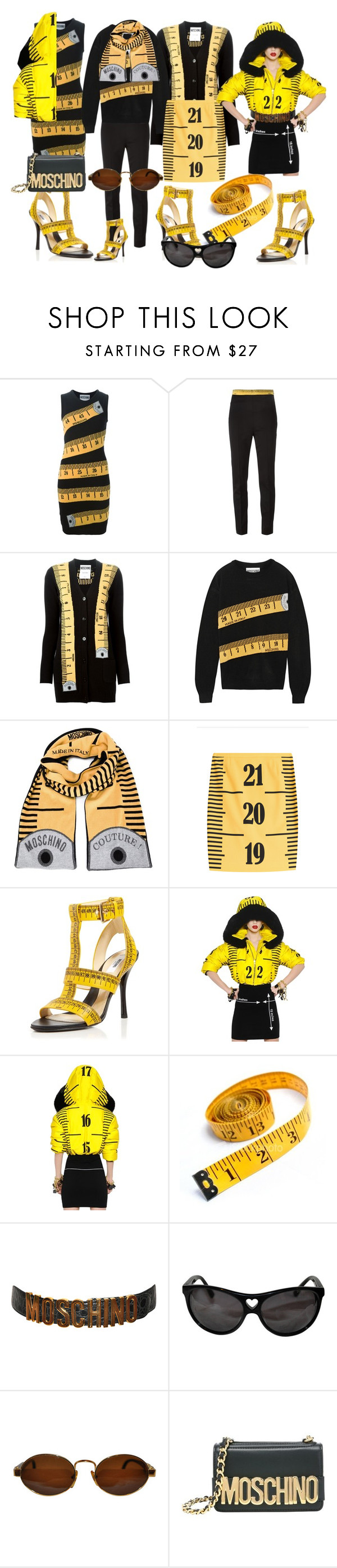 """""""Moschino Tape Measure Sisters"""" by egordon2 ❤ liked on Polyvore featuring Moschino, sisters, sisterlove and TapeMeasure"""