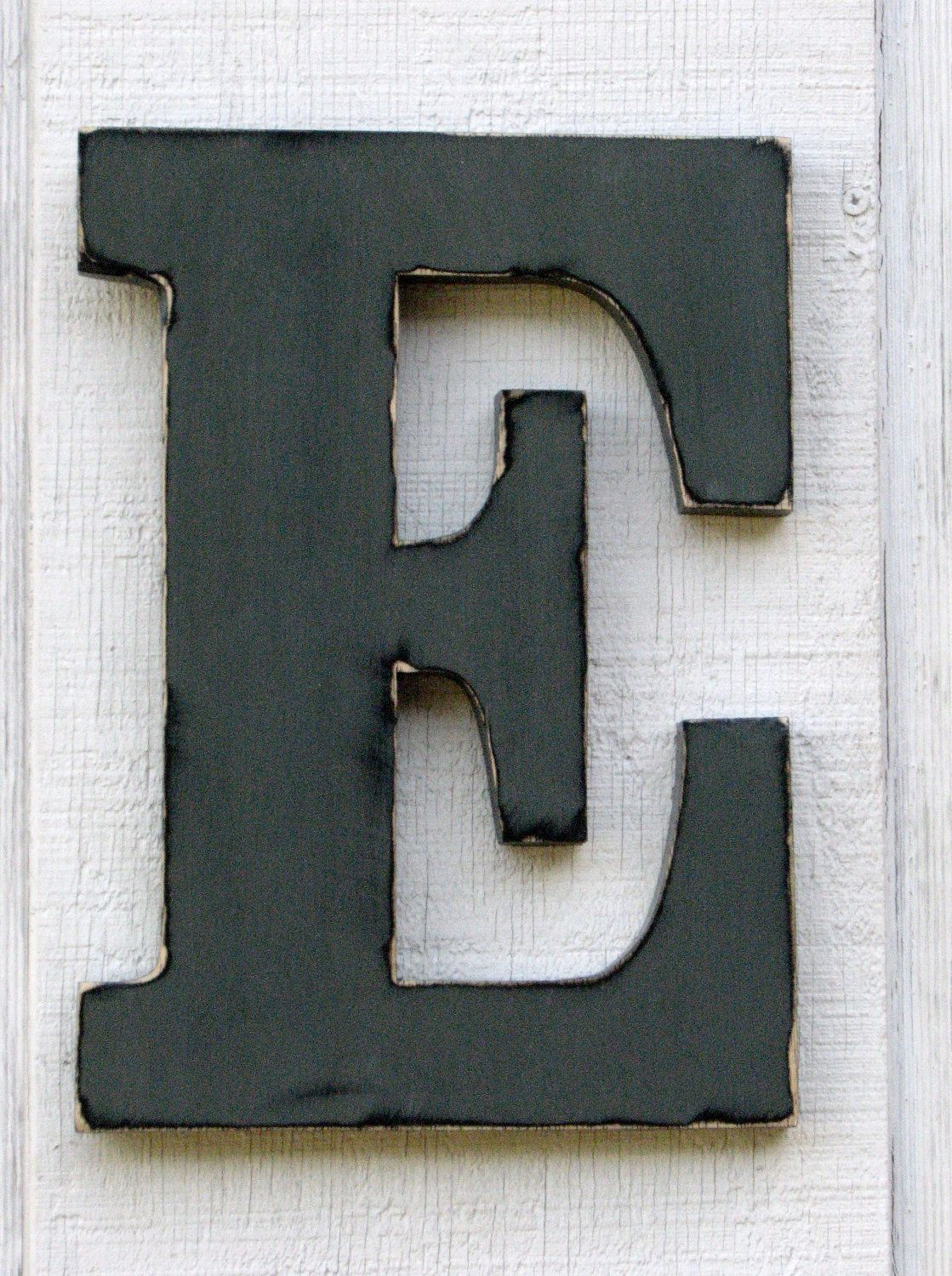 Large Wall Wooden Letters E Pewter Grey Distressed 12 Tall Wood