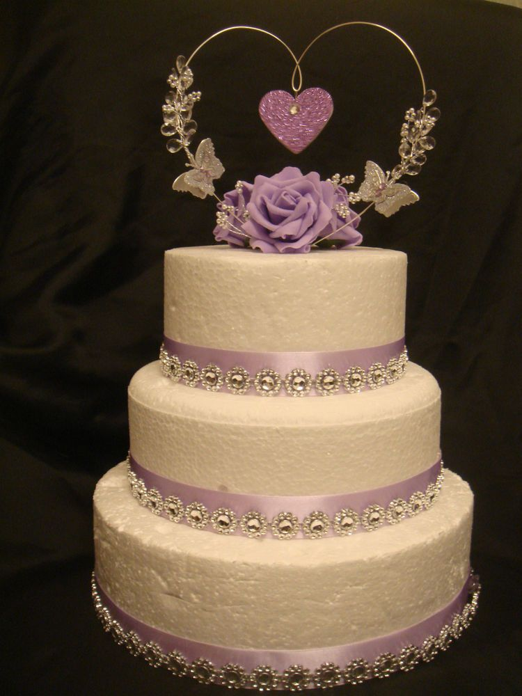 a rose glitter butterfly crystal heart wedding anniversary cake ...