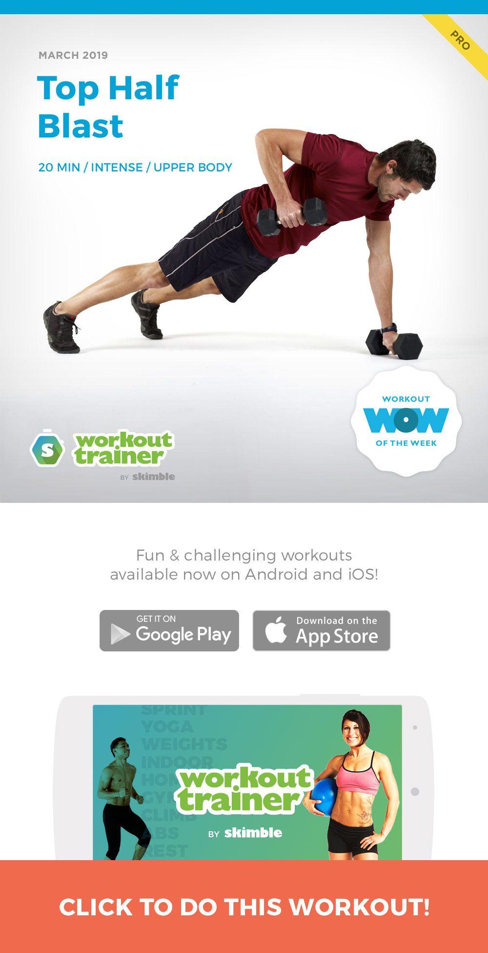 Top Half Blast Workout trainer app, Upper body workout