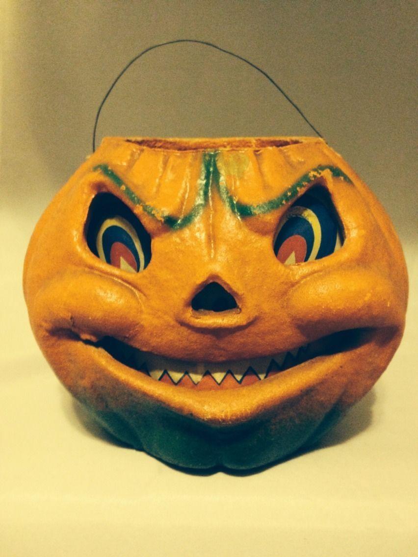 Vintage halloween paper decorations - Vintage Paper Mache Halloween Jack O Lantern Pumpkin Ebay