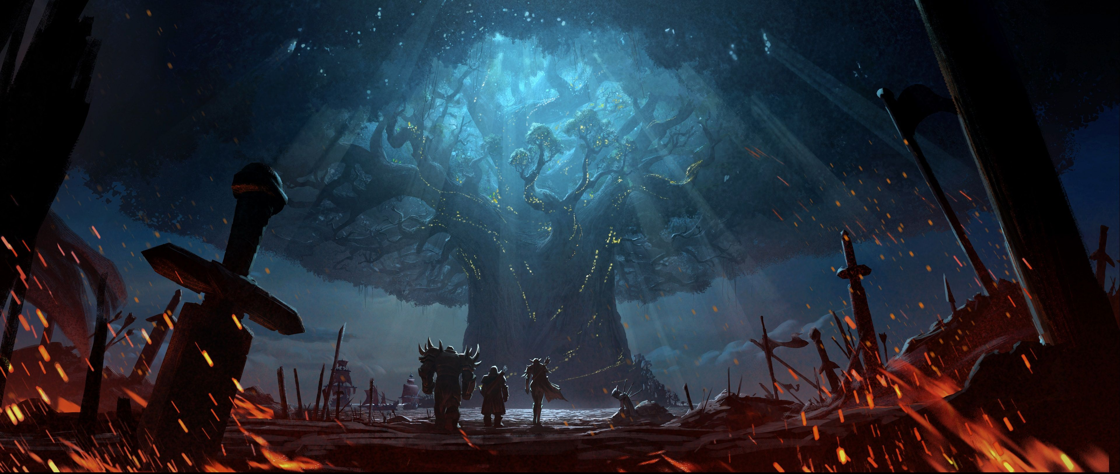BFA Battle For Teldrassil Dual Monitor Wallpapers