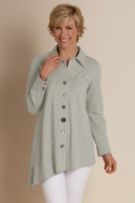 Asymmetric Button Top - Angled Hem Top, Angled Hem Shirt | Soft Surroundings