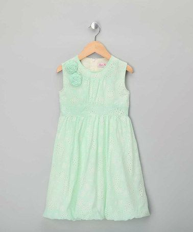 8ced3804f Take a look at this Mint Rose Broderie Dress - Girls by London Kiddy ...
