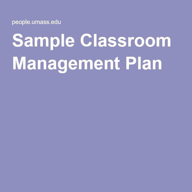Sample Classroom Management Plan  Classroom Mangagement