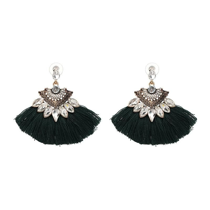 Biyu Designer Blue Crystal Floral Long Dangle Earring