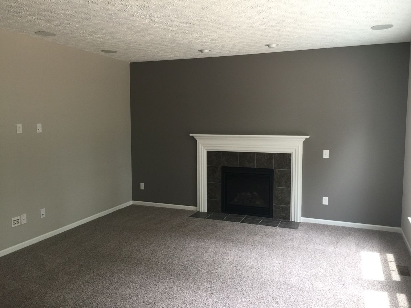Our carpet is mohawk brand in rainswept gray the dark gray accent wall is done in sherwin williams dovetail the light gray walls are done in sherwin
