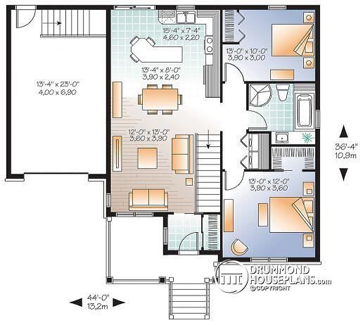 W3126V1 Small and affordable Bungalow house plan open floor plan – Bungalow House Plans With Basement And Garage