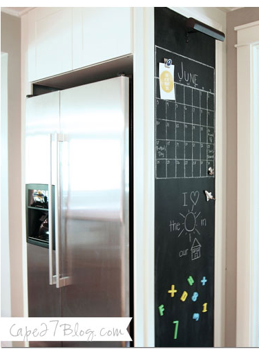 Turn The Side Of The Refrigerator Into A Magnetic Chalkboard Calendar