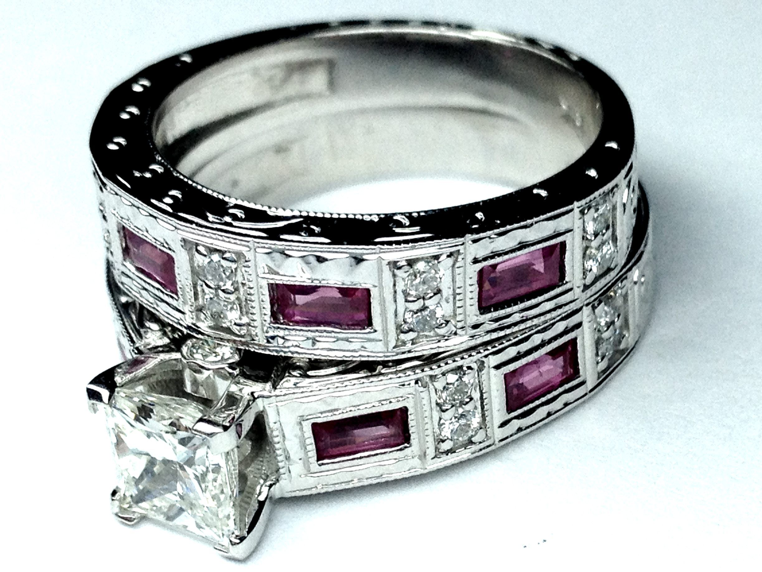 Princess diamond vintage engraved bridal set engagement for Wedding ring sets with sapphire accents