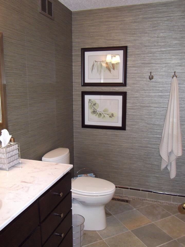 My Guest Bathroom With Vinyl Grass Cloth Wallpaper Grasscloth Wallpaper Bathroom Wallpaper New Homes