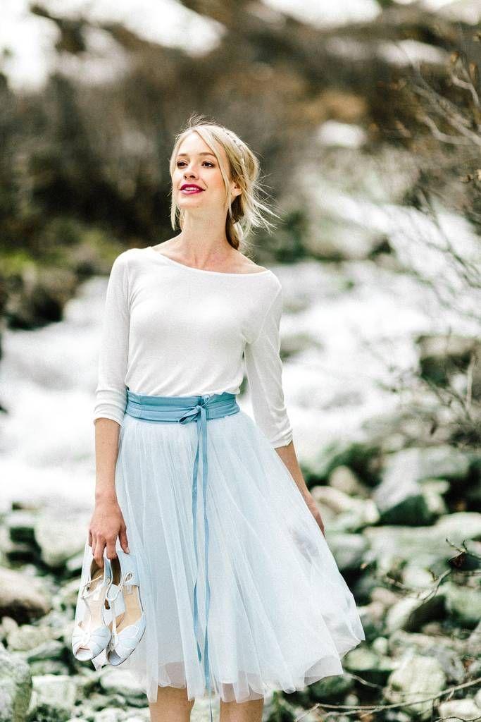 Tüllrock, kurz in Blau für die Hochzeit - Zoe | Brautjacke