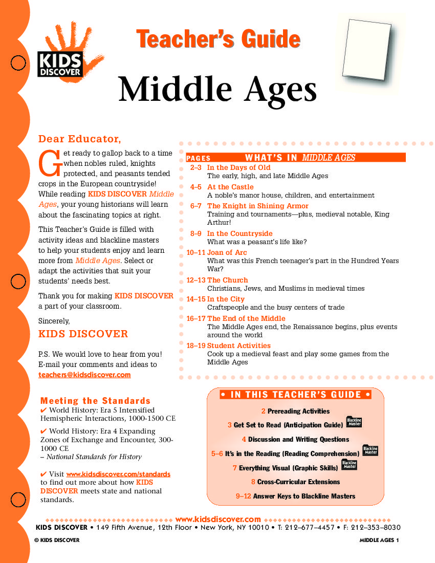 This free Lesson Plan for Kids Discover Middle Ages will help you teach  kids about the growth of cities and the Catholic Church, as well as young  heroes ...