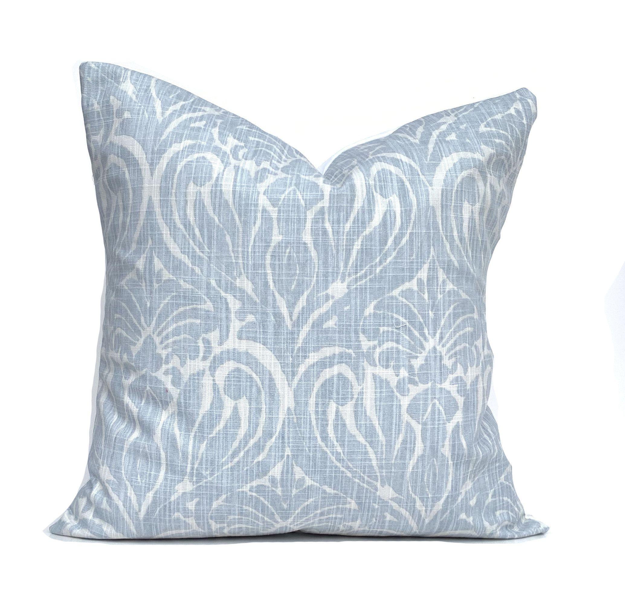 Blue Floral Pillow Cover Grey Blue Decorative Pillows Premier Prints Light Blue Pillow Throw Pillow Blue Floral Pillows Light Blue Pillows Floral Pillow Cover