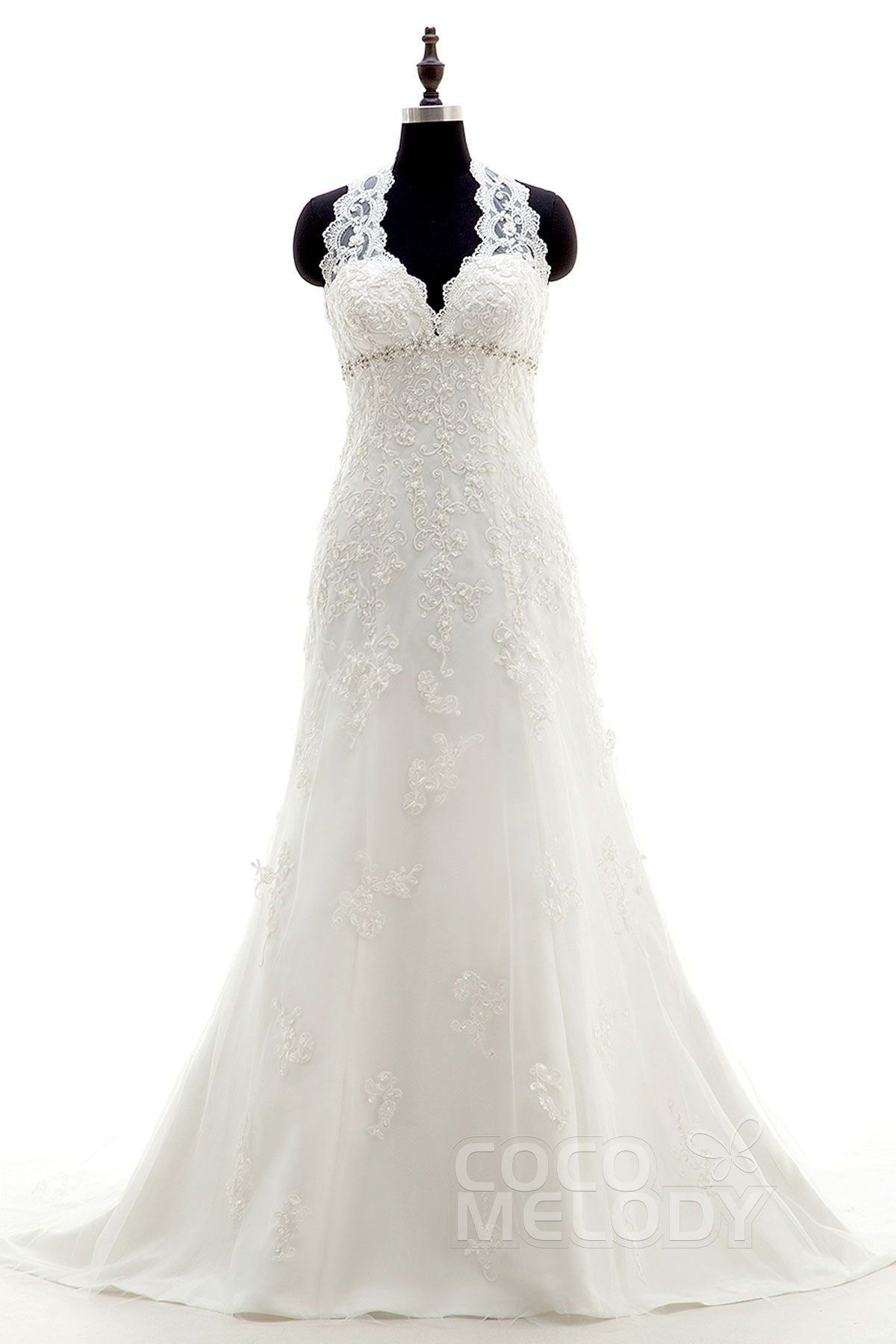 Modern vintage wedding dresses  Perfect SheathColumn Halter Natural Court Train Tulle and Lace