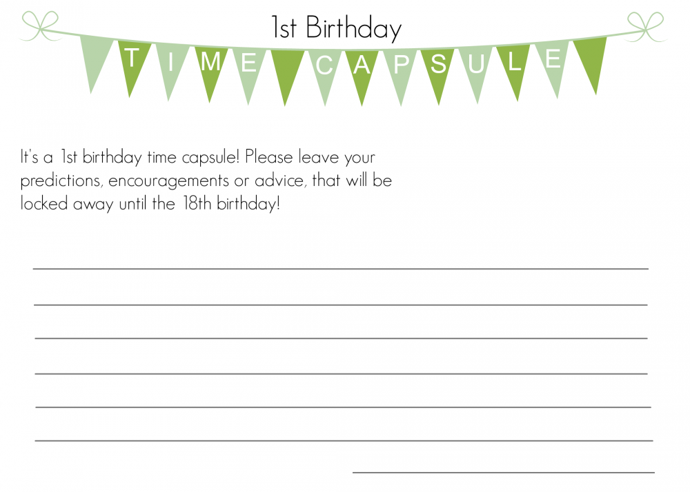 First Birthday Time Capsule With Free Printable The Inspiration Board Time Capsule Birthday Baby Time Capsule First Birthdays