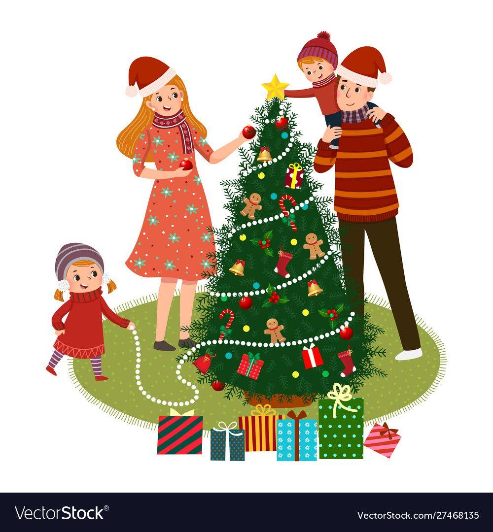 Cartoon Family Decorating Christmas Tree Vector Image On Semya Illyustraciya Illyustracii Semena