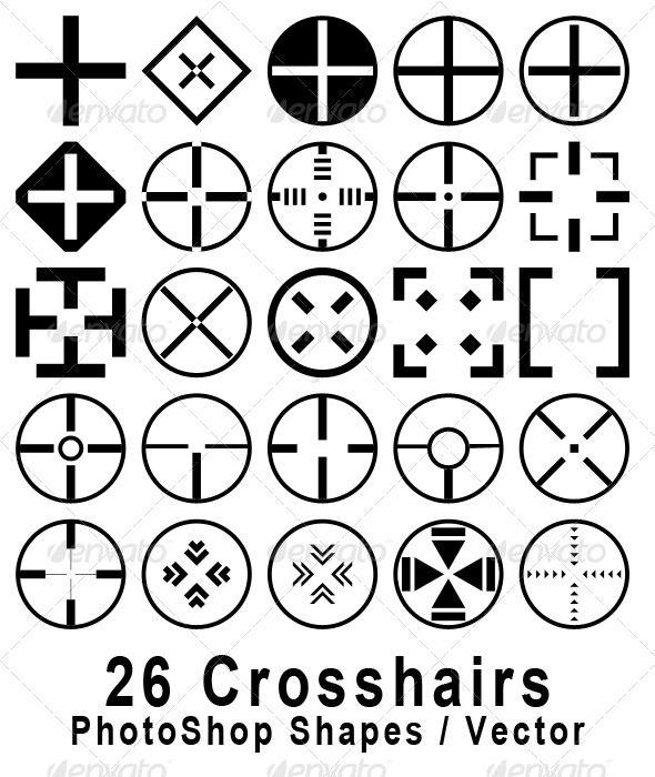 62e3ad1b62af 26 Crosshair Shapes for Adobe Photoshop aim, army, cross, crosshair, game,  gun, hair, military, scope, shooting, target, video, videogame, 26  Crosshair ...