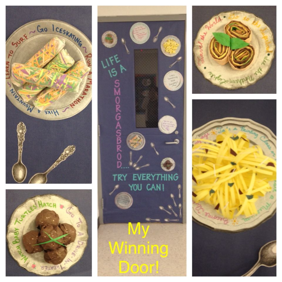 """""""Life is a Smorgasbord"""" classroom door with paper food. Bucket list ideas are written around the plates of food. Other plates have life quotes."""