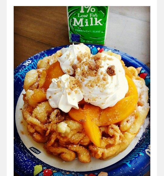 Peach Cobbler Funnel Cake With Images Funnel Cake Fair Food