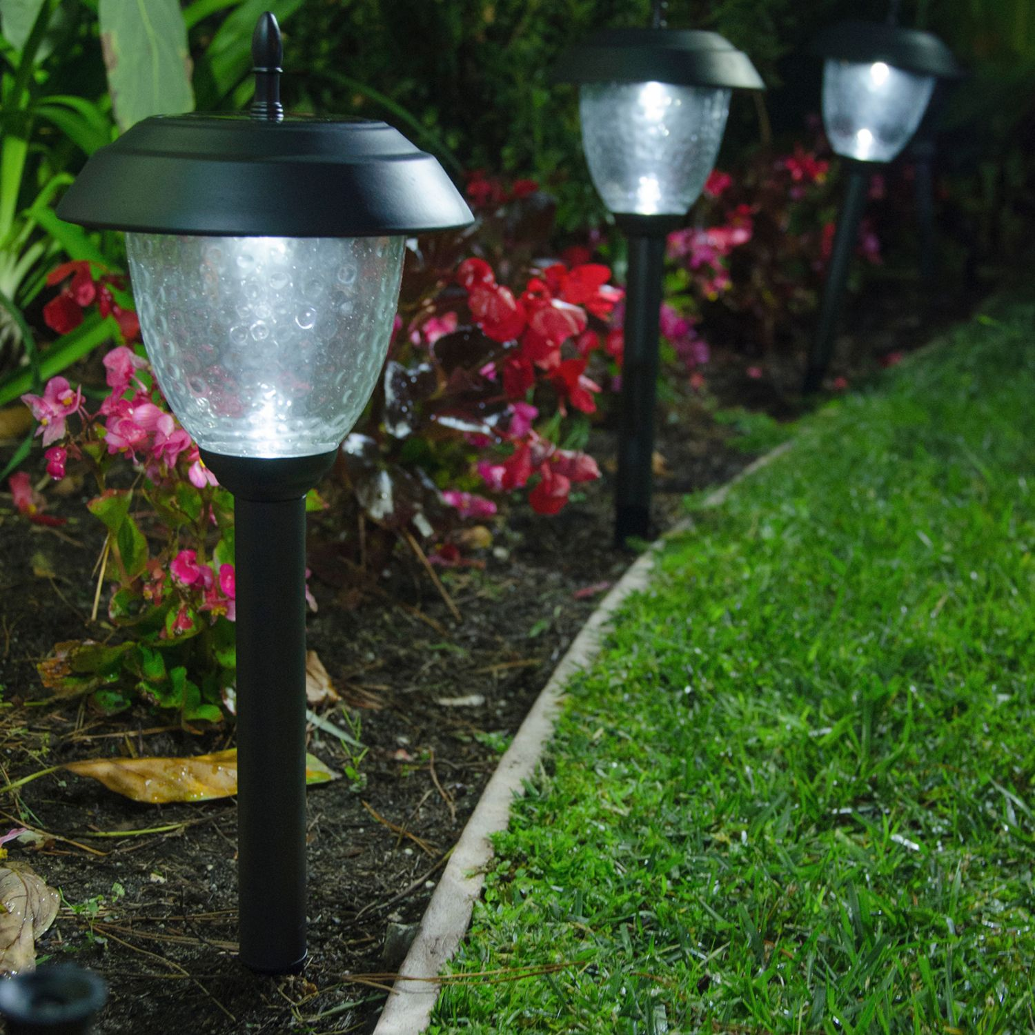 set of 8 glass high output led solar path lights metal paradise