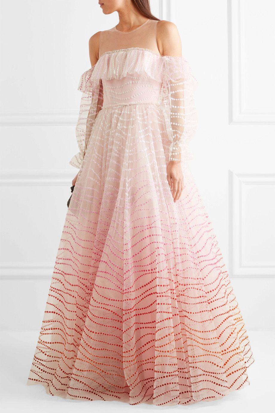 Jenny Packham | Off-the-shoulder flocked tulle gown | NET-A-PORTER ...