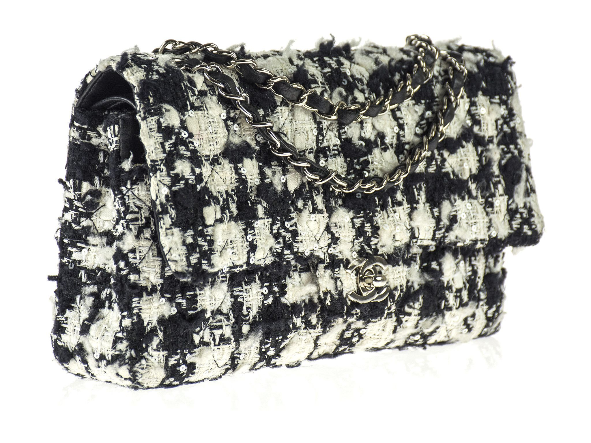 Chanel Black & White Tweed 2.55 Double Flap Bag