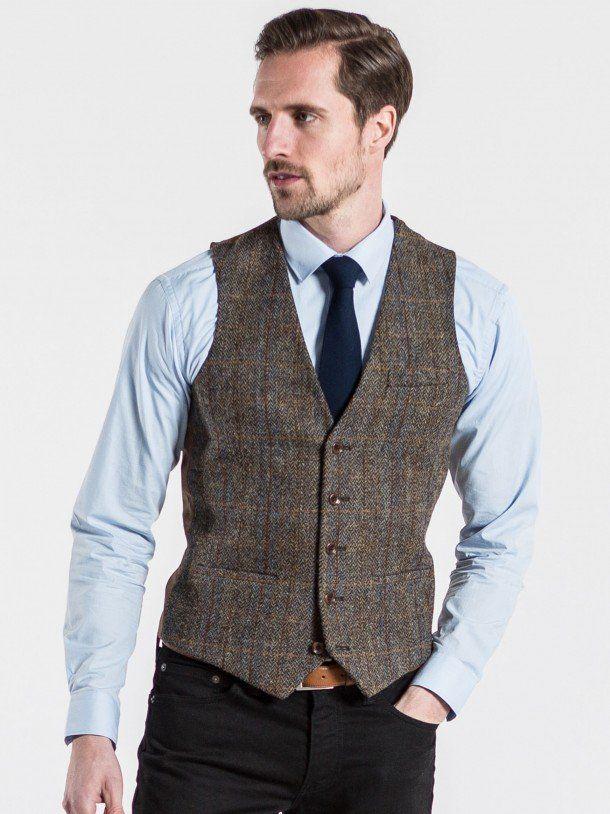 Harris Tweed Blue and Brown Tweed Tailored Waistcoat | Kleider ...