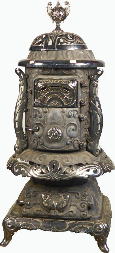 Antique Ornate Wonder Oak 818 Cast Iron Pot Belly Stove On