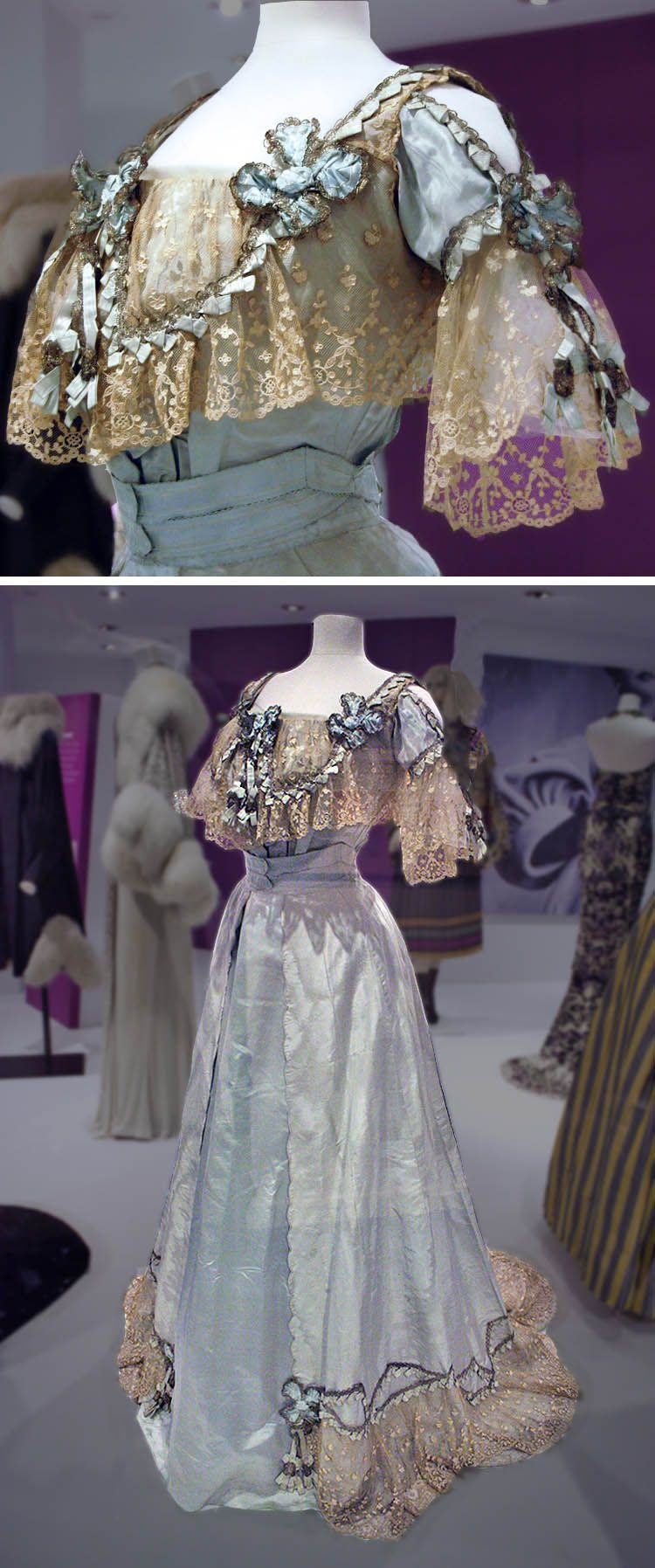 Light blue silk evening dress with applied lace and ribbons, Callot Soeurs, ca. 1906. Probably from the Fashion Museum, Bath. Top photo: Becky Pitzer/Flickr. Bottom: Eileen Bloom/Flickr