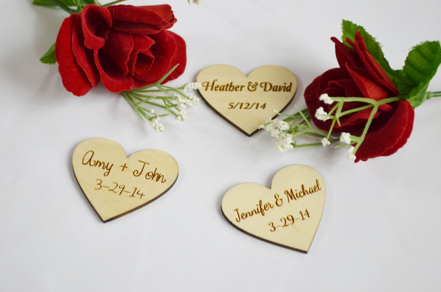 Personalized Wooden Hearts, Wedding Favors, engraved wood shapes ...
