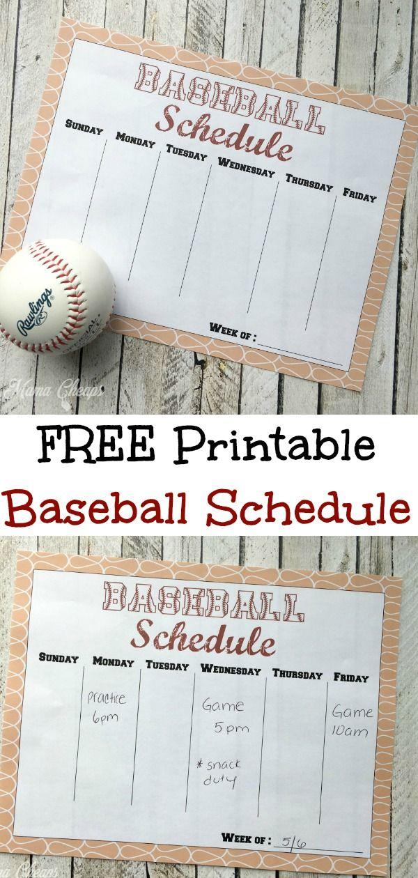 Free Printable Baseball Schedule Baseball games for kids